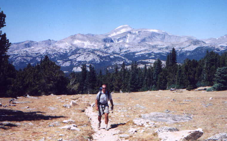 picture of Ben hiking away from Wind River Peak