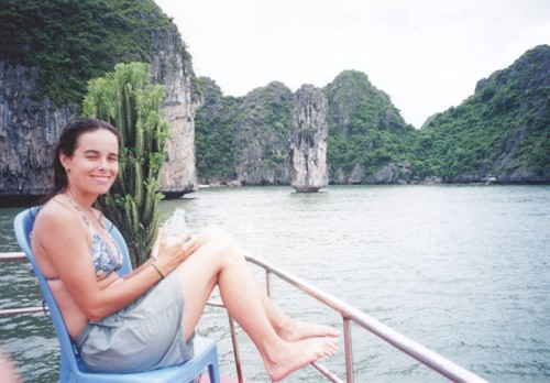 Pic of Jodi on boat in Halong Bay